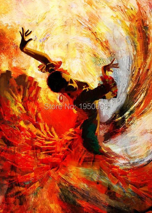 Handmade Oil Painting Sexy Flamenco Dancer Oil Painting -6143