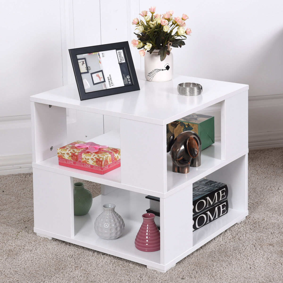 Giantex Modern Wood Square Coffee Table Living Room White End Side ...
