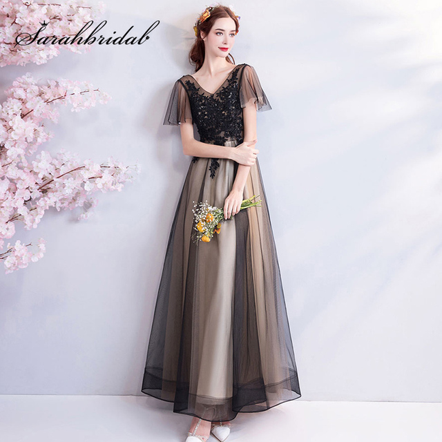 Black Lace Appliques Bridesmaid Dresses Female 2019 New Noble Elegant V-neck Sexy Slimming Dignified Prom Party Dress L3115
