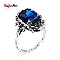 Szjinao 925 Sterling Silver Jewelry Wholesale Fine Carved Antique Jewelry Sapphire Women Sterling Silver Ring