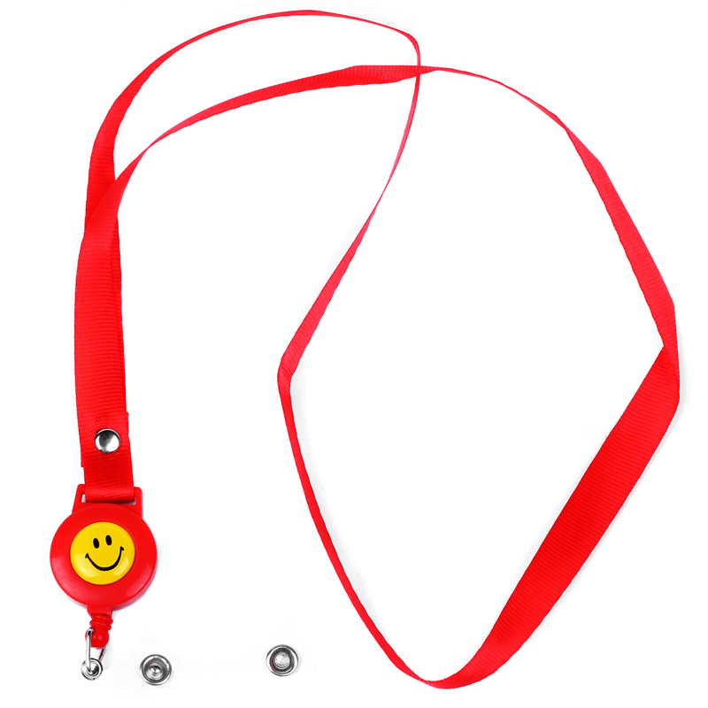 Smiley Face Lanyard Pattern Badge Holder Neck Strap Office Identification Card, Red Color