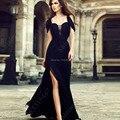 Ocasión especial Negro Vestidos de Baile 2017 Vestidos de Noche Un línea de Novia Cap Manga Corta Mujeres Atractivas Largas Vestidos de Noche hendidura