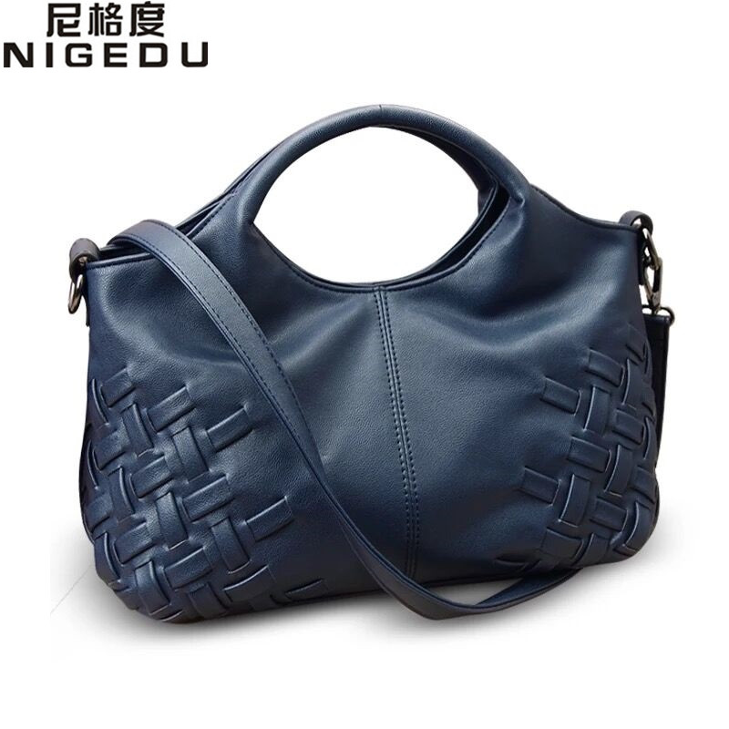 Vintage Weave Women Handbag PU Leather Women's Shoulder bag Female Leisure Casual Lady Hobo bags messenger Top-handle bags bolsa genuine leather cross body top handle bags embossed natural skin hobo vintage female women messenger shoulder tote handbag
