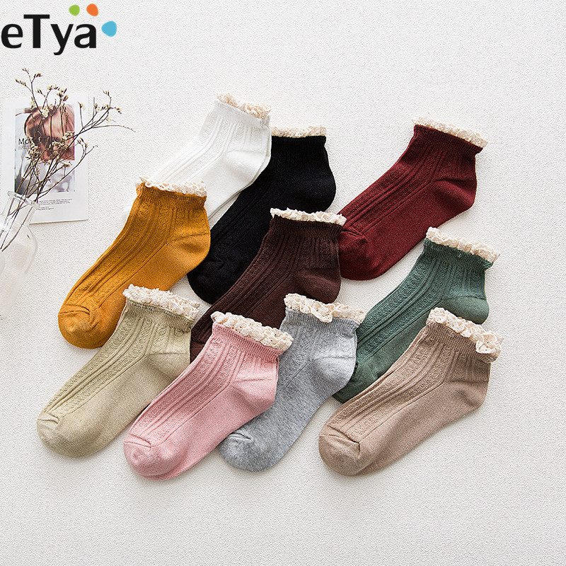 ETya Fashion Cotton Lace Ruffles Women  Girl Socks Spring Summer Autumn Short Ankle Socks