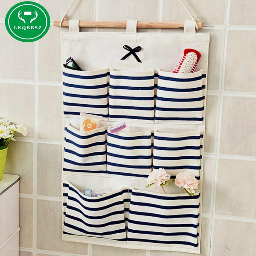 8 Pocket Wall Hanging Storage Bag Fashion Makeup Cosmetic Sundries Organiser organizador Linen Kitchen Bathroom Storage Tool