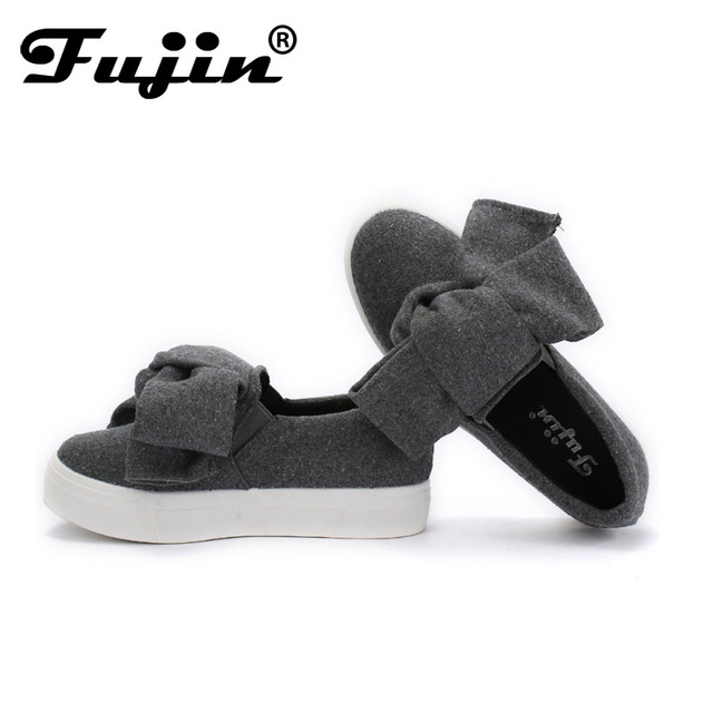 Fujin 3cm black grey women spring boots winter Fashion Women Flats Bow Woman Platform Shoes Slip On Espadrilles Shoes Creepers