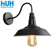 Винтажный настенный светильник, светодиодный светильник E27, Эдисон, лофт, ретро, железная краска, американский старый стиль, простая черная крышка горшка с абажуром