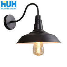 Vintage Wall Lamp Led Light E27 Edison light Loft Retro Iron Paint American Old Style Simplicity Black Pot Cover with Lamp Shade
