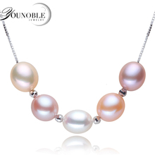 YONOBLE beautiful multi real natural pearl pendants 925 sterling silver pendant necklace women girl birthday gift collier
