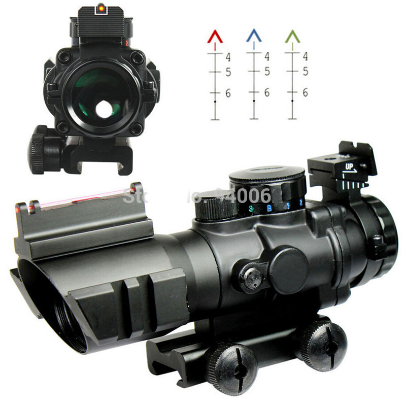 4X32 Tactical Red Green Illuminated Rifle Scope Chevron Reticle Fiber Optic Sight Scopes Rifle Airsoft Gun Hunting wgx2 hd night vision rilfescope 1280x720 display night vision hunting scope digital ir night vision scope optical 200m range