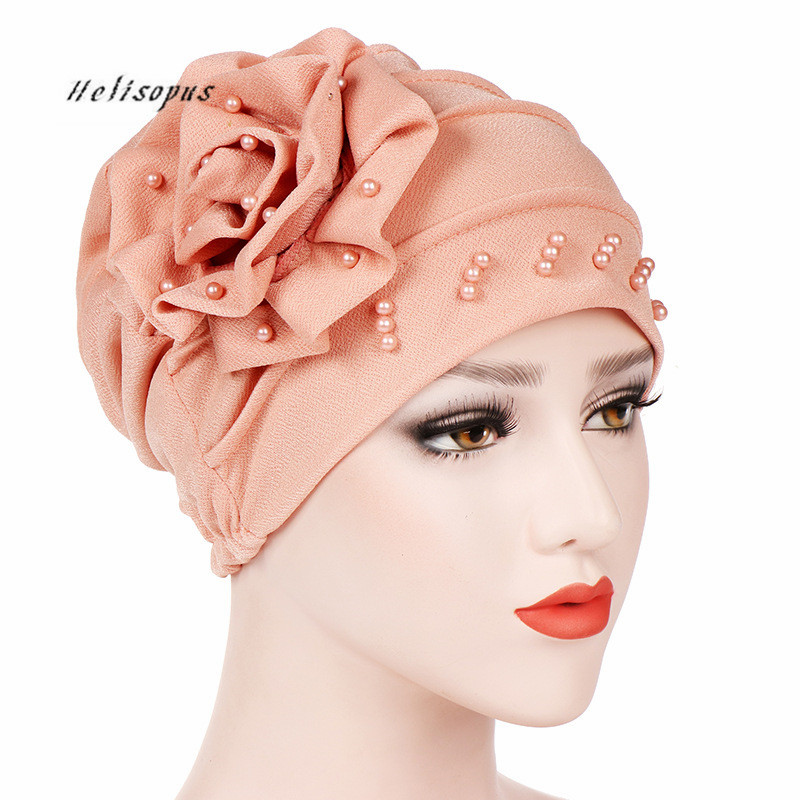 Helisopus Women New Style Ruffled Big Flower Scarf Cap Muslim Head Wrap Chemo Turban Ladies Bandanas Hair Accessories