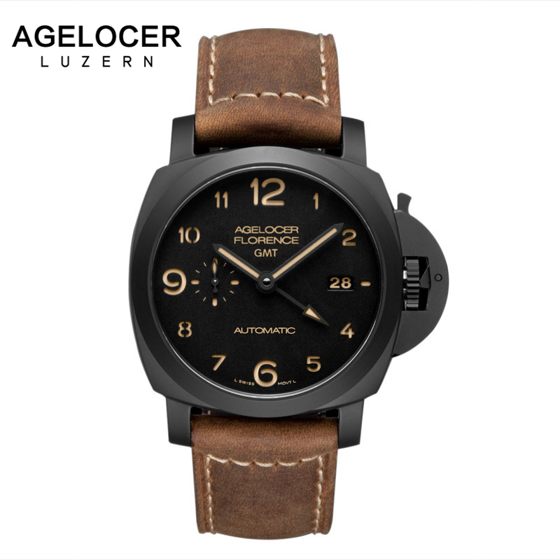 2017 Agelocer Mens Watches Swiss movement  Luxury Military Casual Watch 100% Leather Fashion Wristwatches relojes hombre