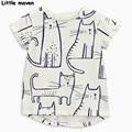 Little maven niña ropa 2017 muchachas del verano de manga corta camiseta de algodón gato pintado a mano tee tops 50663