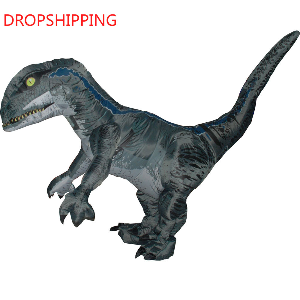 Jurassic World Adult Velociraptor Costume Fantasy Inflatable T REX Raptor Dinosaur Halloween Party Cospaly