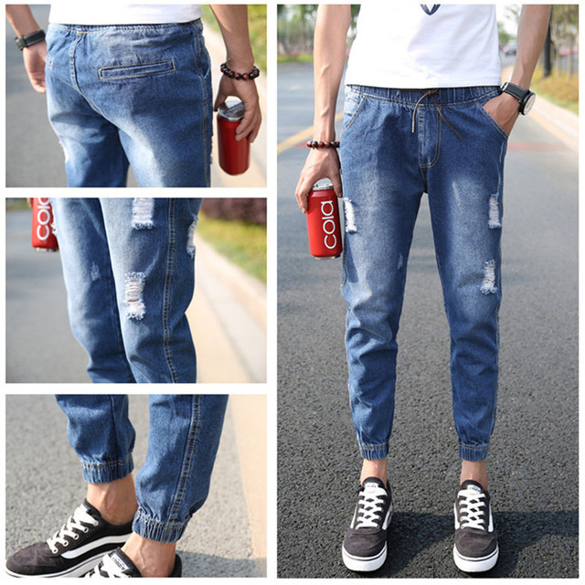 Easy Matching Leisure Men Skinny Pure Colour Ripped Jeans Denim ...