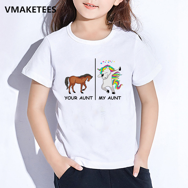 cfcaf03fb Kids Summer Girls & Boys T shirt Children Your Aunt Horse My Aunt Unicorn  Cartoon Print T-shirt Cute Funny Baby Clothes,HKP5261