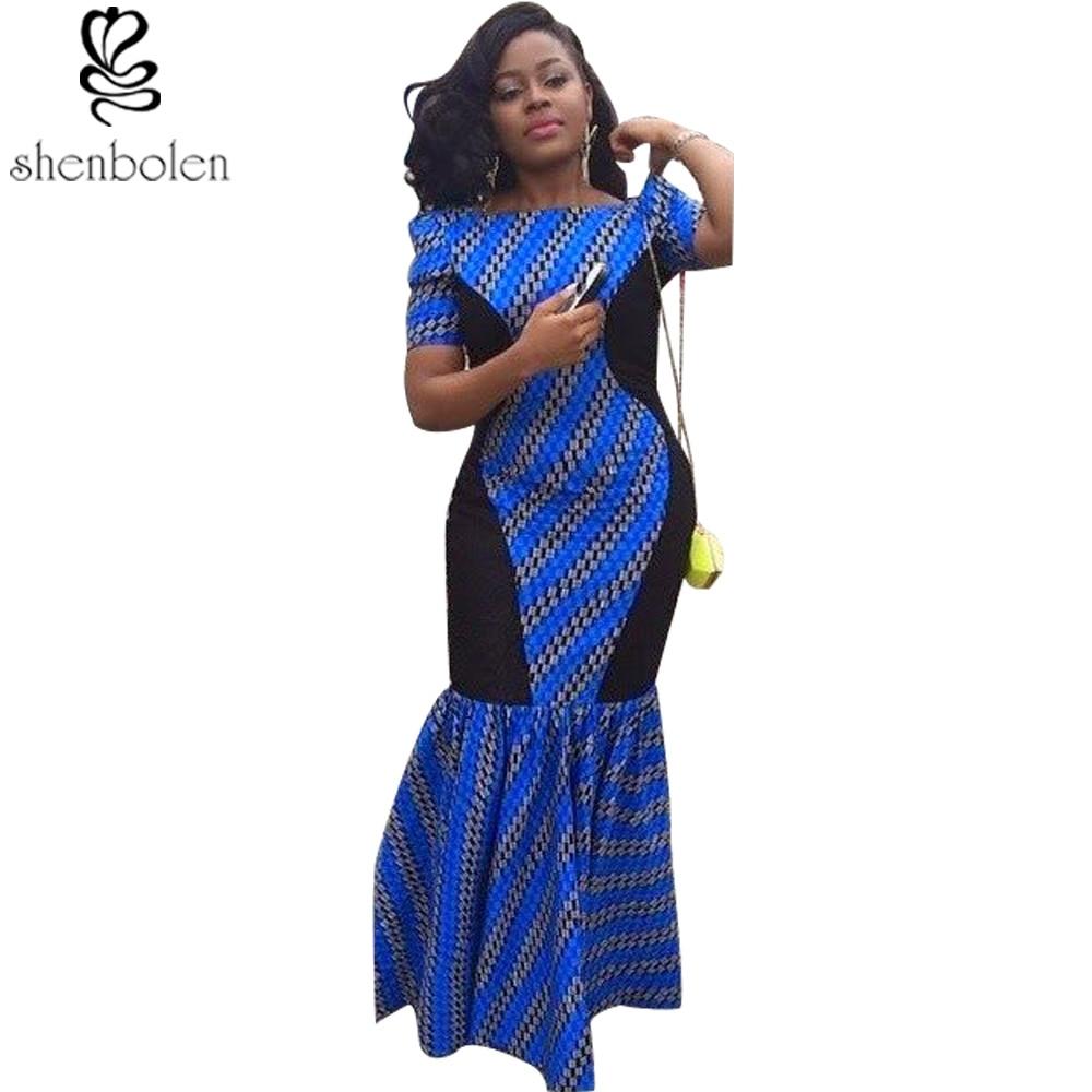 Robes africaines pour femmes impression de cire batik manches courtes maxi robe en queue de poisson ankara vêtements