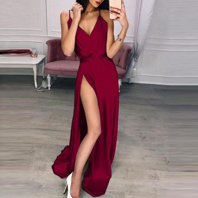 e41d42466c2 New party dresses women evening long Sexy Solid Color Long Sleeve High  Waist Open Back Stitching Party Dress elegant robe femme
