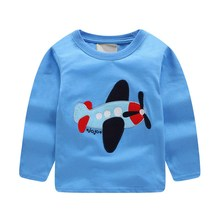 Hot selling baby boys girls tees top long sleeves cartoon t shirts applique airplane kids new designed autumn clothing