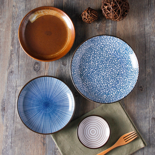 Guaranteed 100% Crackle glaze dinnerware sets Japanese ceramic tableware Painting ceramic dishes with Ring pattern & Guaranteed 100% Crackle glaze dinnerware sets Japanese ceramic ...