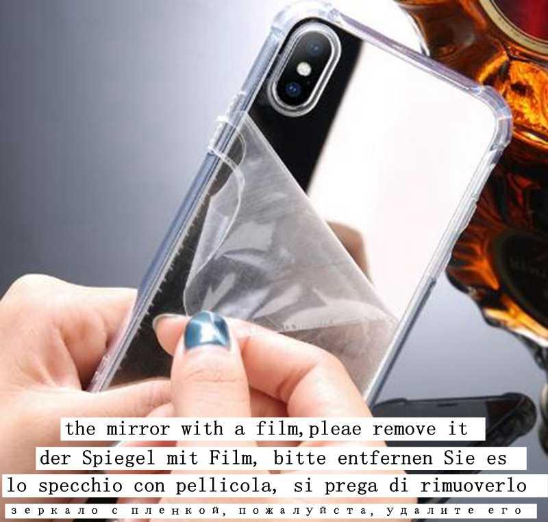 Lüks ayna durumda iphone XS için Max XR kapak silikon yumuşak TPU darbeye dayanıklı kılıf iPhone 6 6s 8 7 artı X coque kadınlar makyaj