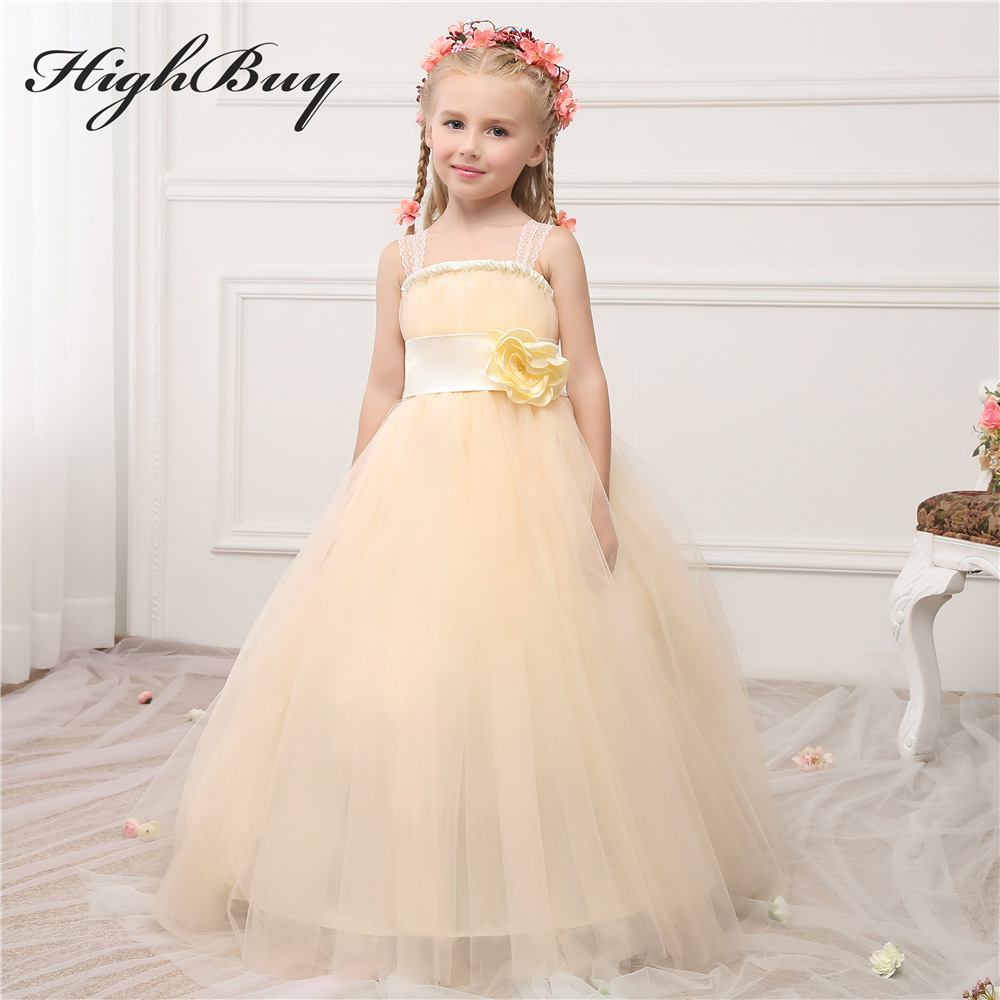HighBuy Rustic Champagne Ball Gown Flower Girl Dress With Flower ...