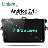 7.1.1 AKLL9071 uniway 2G + 16G android car dvd dla toyota corolla 2008 2007 2009 2010 2011 radio samochodowe gps odtwarzacz szef jednostka