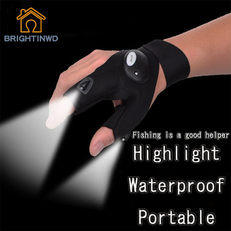 LED Light Fishing Gloves Camping Bicycle anti-skid Gloves Lights Outdoor Waterproof Camping Gloves Flashlight portable Lights