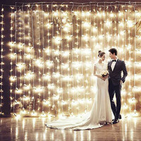 3M X 3M 300 LED Home Outdoor Holiday Christmas Wedding Decorative Xmas String Fairy Curtain Garlands