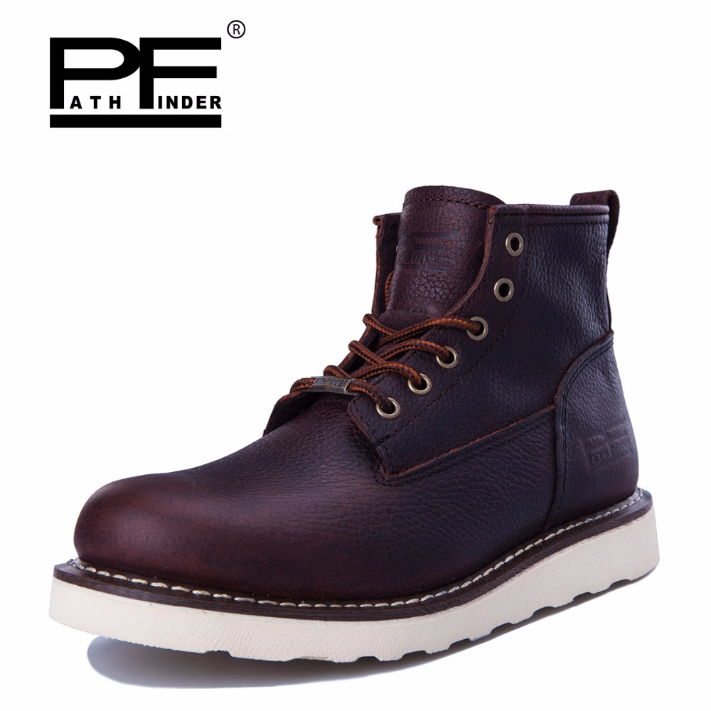 Pathfinder Fashion Men Ankle font b Boots b font Genuine Leather High Quality font b Boots