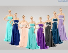 Long Chiffon Strapless Pleats Elegant Evening Dresses 2016 New Arrival With Crystal of Coral Purple Teal Blue Coral Color 03