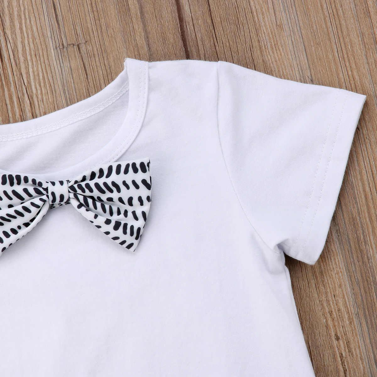 2018 NOVO Bebê Recém-nascido Menino Arco Nó Tops T-shirt e Calças jardineiras Formal Do Partido vestido de Verão Roupas da moda bonito lovley selvagem CH