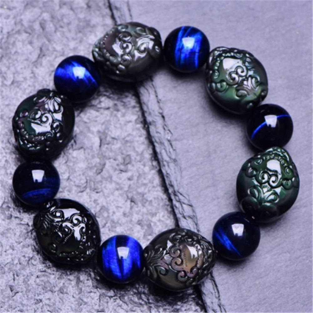 5A Natural Obsidian Pixiu Charm Blessed Bracelet Blue Tiger's Eye Crystal Stone Transfer Luck Beads Fashion Men's Jewelry Gift