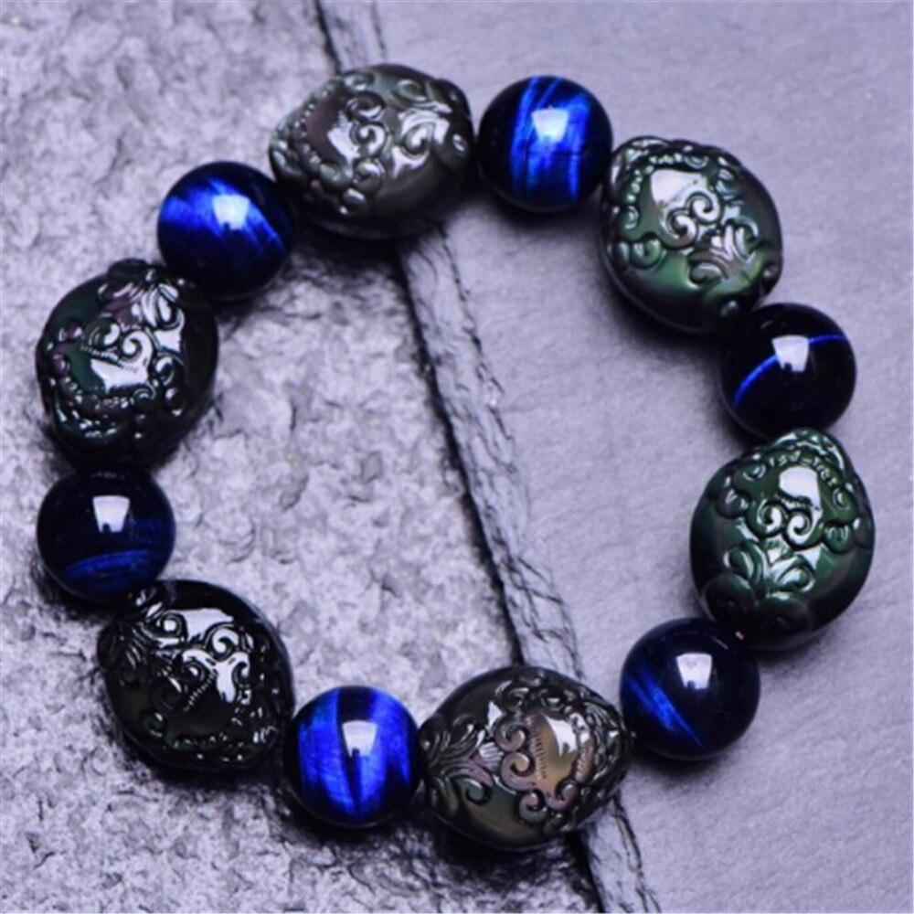 5A obsidienne naturelle Pixiu charme bienheureux Bracelet bleu oeil de tigre cristal pierre transfert chance perles mode hommes bijoux cadeau
