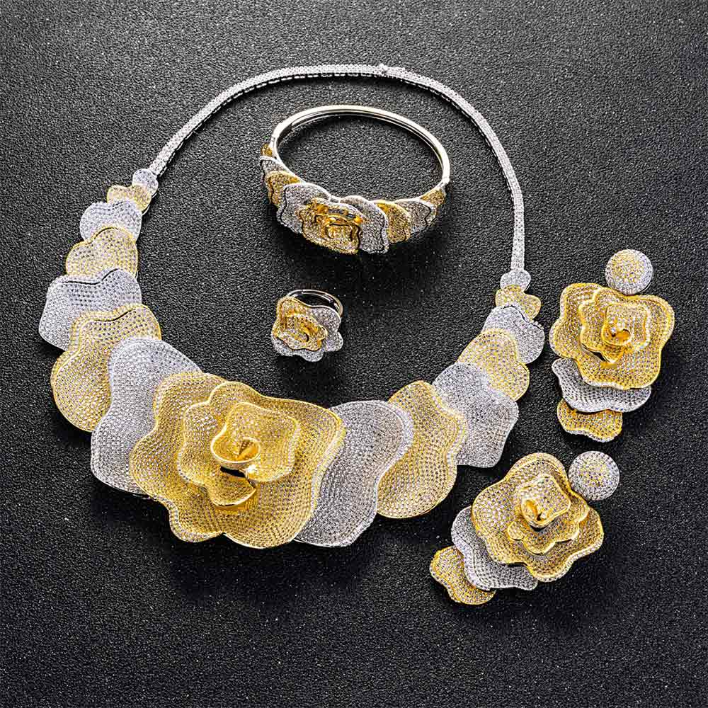Image 2 - Viennois Gold / Silver / Mixed Color Necklace Set For Women Flower Dangle Earrings Ring Bracelet Set Party Jewelry Set 2019-in Jewelry Sets from Jewelry & Accessories