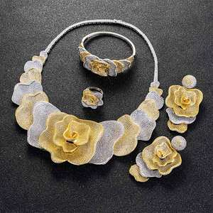 Image 2 - Viennois Gold / Silver / Mixed Color Necklace Set For Women Flower Dangle Earrings Ring Bracelet Set Party Jewelry Set 2019