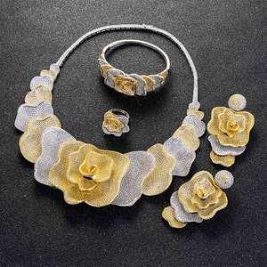 Image 2 - Viennois Goud/Zilver/Gemengde Kleur Ketting Set Voor Vrouwen Bloem Dangle Oorbellen Ring Armband Set Sieraden Party Set 2019