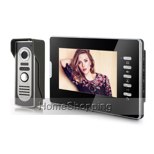 Brand New Wired 7 Color Screen Video Door Phone Intercom System 1 Monitor + 1 Waterproof IR Door Camera In Stock FREE SHIPPING розетка tv проходная liregus epsilon белый
