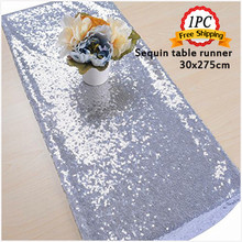 Free Shipping 1PC Gold Sequin Tablecloth Bling Embroidered Stone Table  Runner For Wedding Party Banquet Decortaion Home Textile