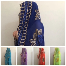 Wholesale Muslim Embroidery Islam Scarf,1*2 Meter Dubai Chiffon African Women Scarf For MOXF-12
