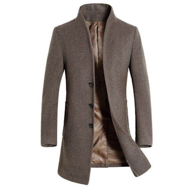 outlet store cb11e 0129d US $74.05 27% OFF|2017 Männer Mantel Mantel Winterjacke Windjacke Woolen  Solid Black Trenchcoat Männer Wolle Englisch Stil in 2017 Männer Mantel ...