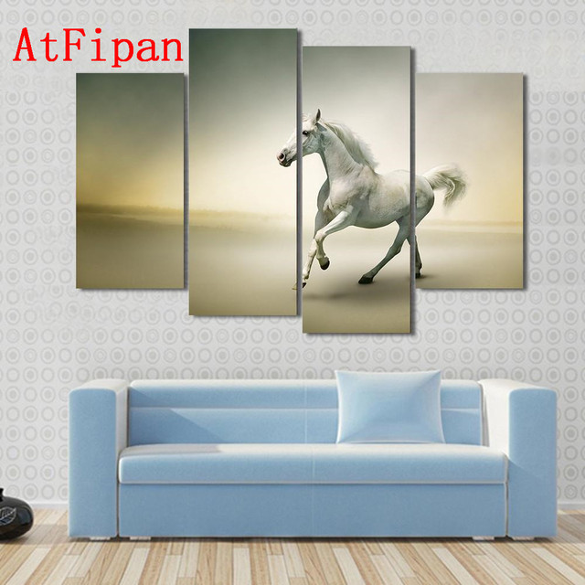 AtFipan Canvas Art White Horse In Motion Oil Paintings On The Wall ...