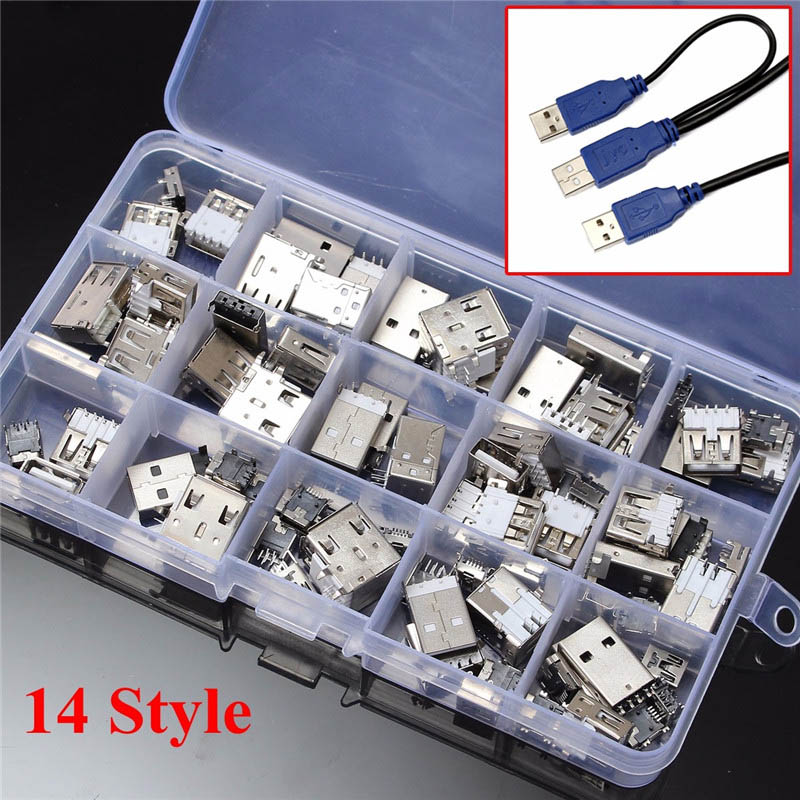 82Pcs 14 Styles USB Male USB Female Mini USB SMD Vertical Socket Connector for DIY Jack Connector Port Charging Data Plug 10sets mini usb male connector 3 in 1 male mini usb jack 2 0 5pin plug socket with plastic cover for kinds of diy
