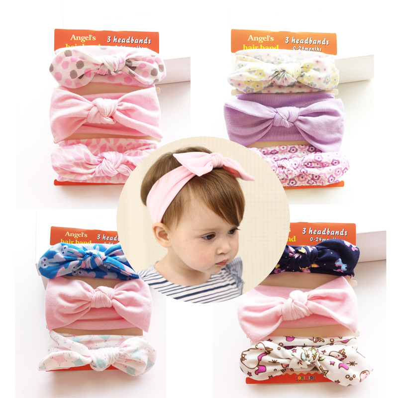 3pcs/set New Fashion Rabbit Ear Headband Cotton Bows Hairband for Kids Girls Headdress High Quality Turban Hair Accessories free shipping 2013 new fashion lace big rabbit ear hairbands womens festival party props hair bands wholesale
