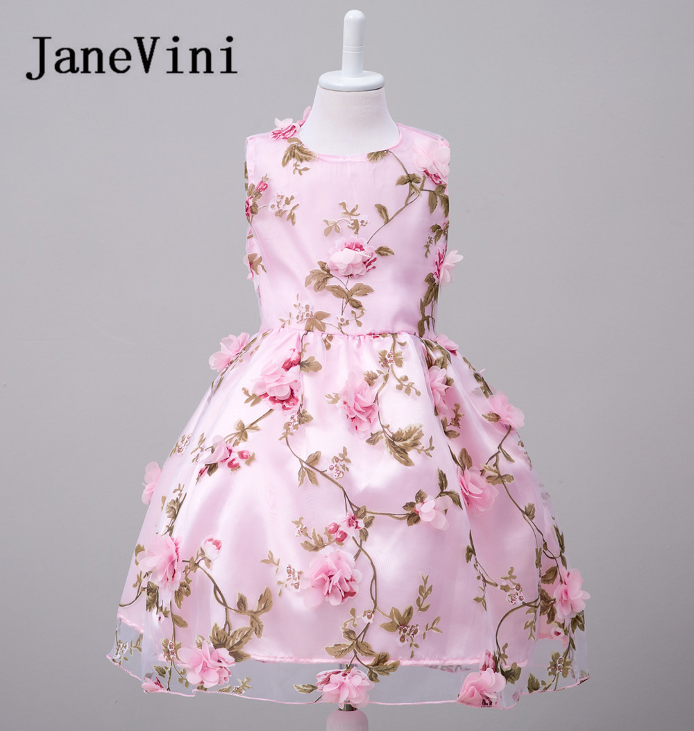 JaneVini 2018 Beautiful Flower Girl Dresses Balll Gown 3D Flowers Custom Prom  Dress Pageant Dress for 7a6c25a76bc0