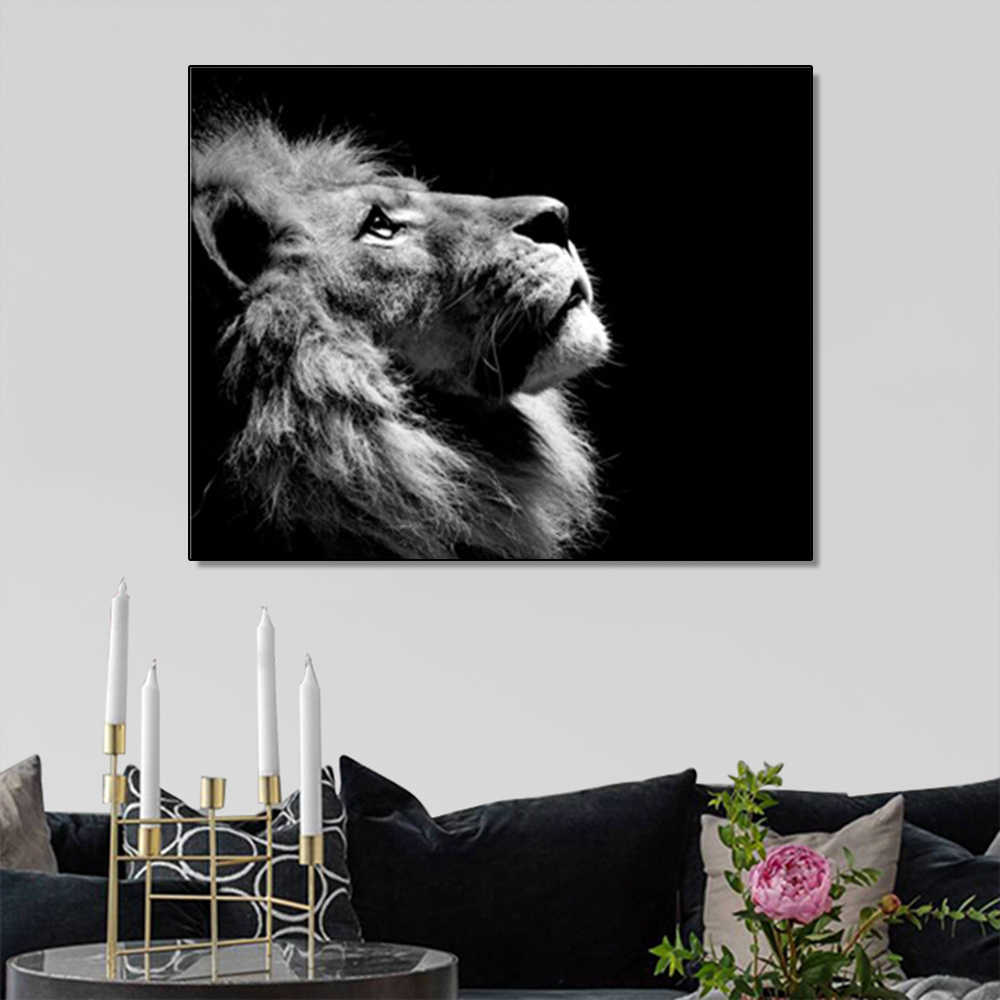 Laeacco Painting Calligraphy Canvas Lion Wild Animal Posters and Prints Nordic Home Decoration Artwork Wall Pictures Living Room