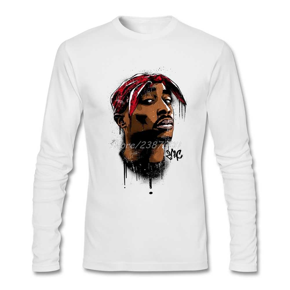 2Pac футболки Crazy cosplay Повседневная футболка с длинным рукавом из чистого хлопка футболки