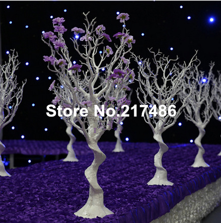 No The Flower And Bead White Artificial Winter Dry Trees Centerpiece For Wedding Decoration
