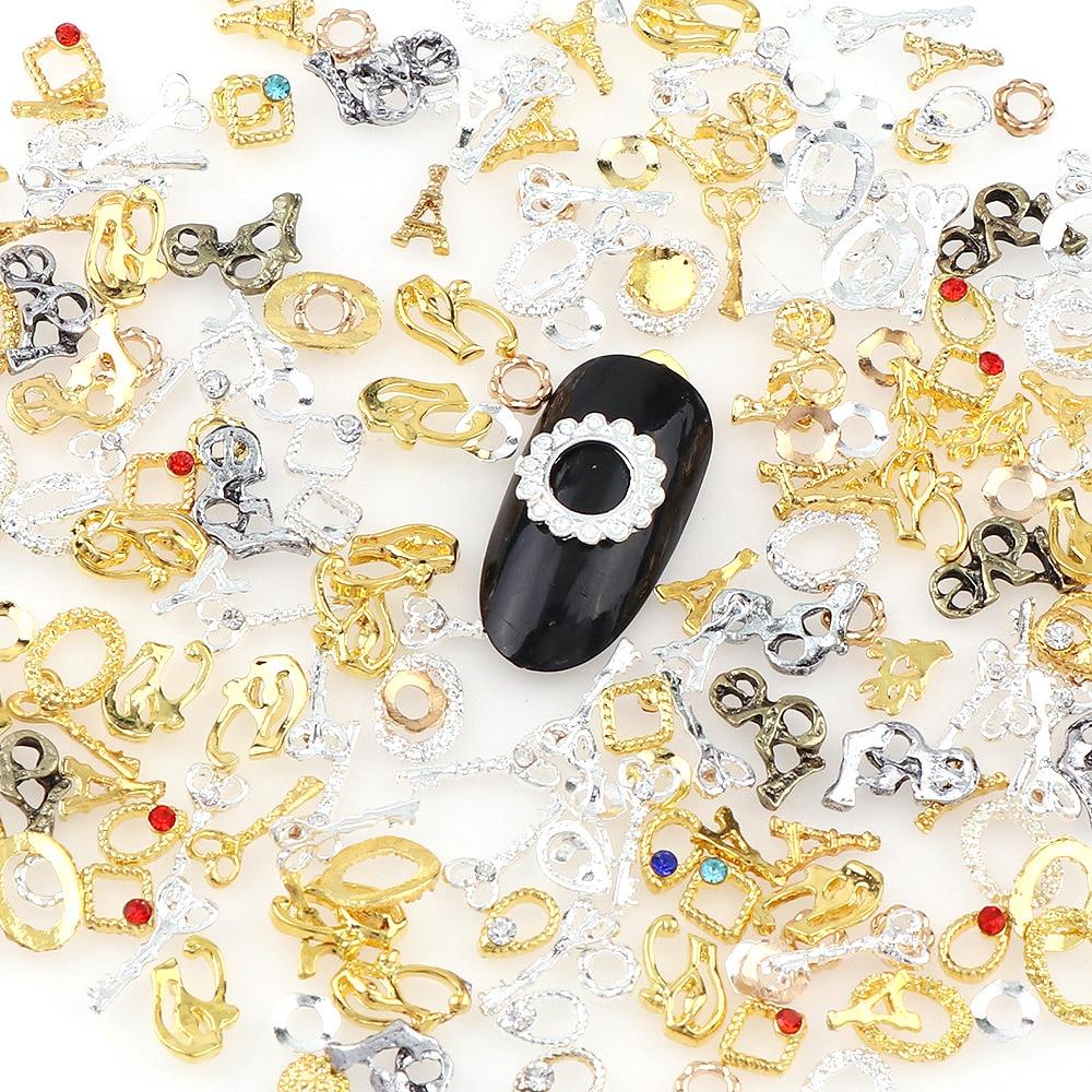 20Pcs 5-10mm Random Mix Design 3D Hollow Series Nail Art Metal Decor,Alloy Nail Charms,Nail Art Decoration Accessories