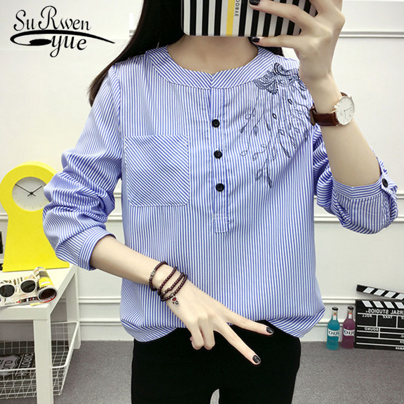 Fashion Striped Women   blouse     Shirt   2019 long sleeve embroidery blue women's clothing office lady women's tops blusas 710B 30